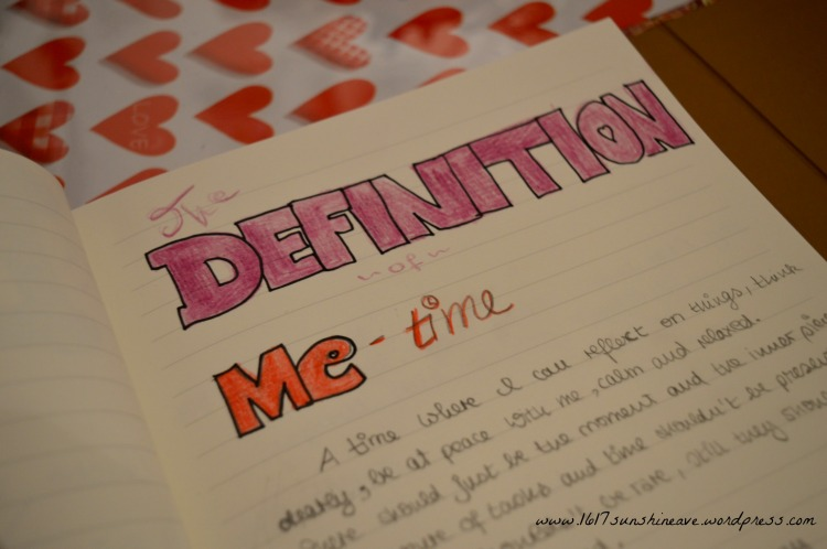 the definition of me time journal hearts