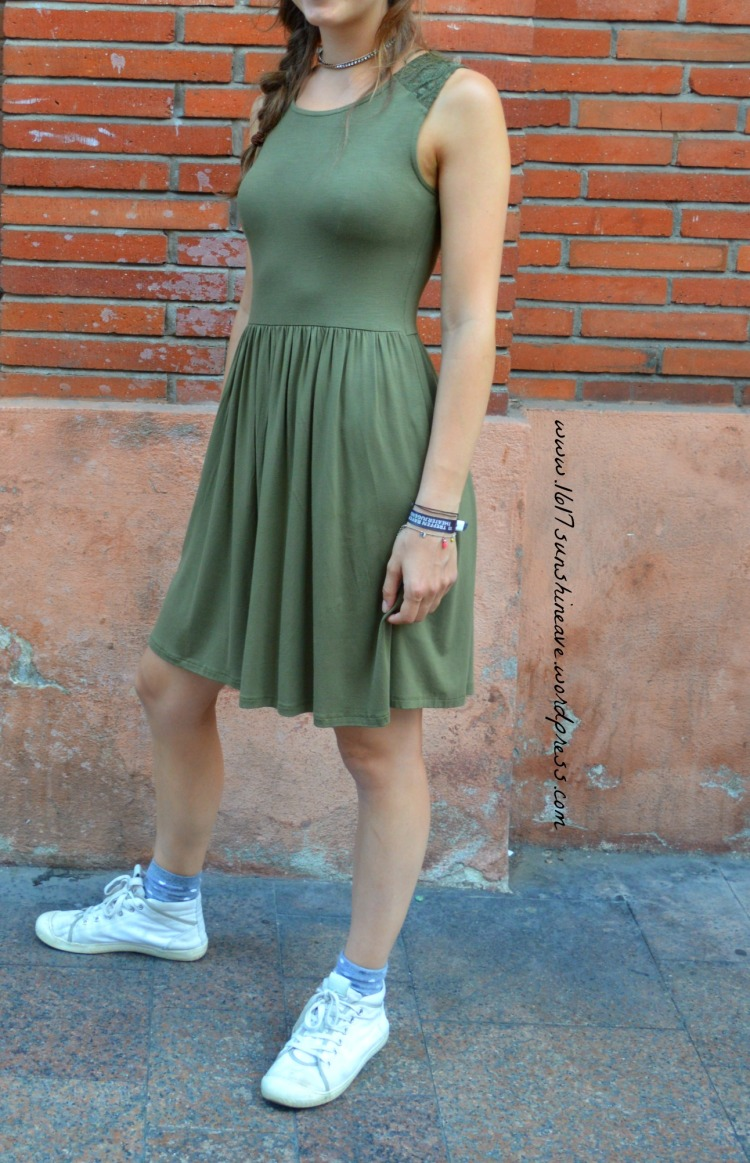 casual but preppy green jersey dress with white sneakers.jpg